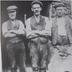 Two of Frank's Uncles John and George Brown (on the right)  with J Oglethorpe in the 1920s – Blacksmiths for Greenside Mine