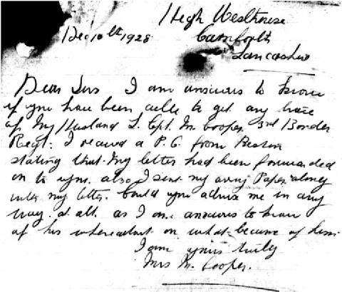 Letter from Mrs Cooper to the War Office
