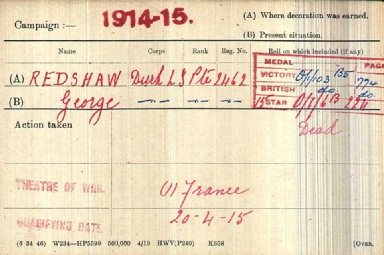George Readshaw Medal Card