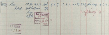 Robert Slee Register of Soldiers Effects