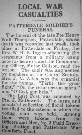 Henry Wall Thompson's Funeral in the Herald
