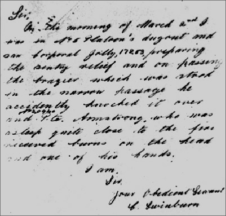 A handwritten account of the incident in which Benjamin was injured in 1918