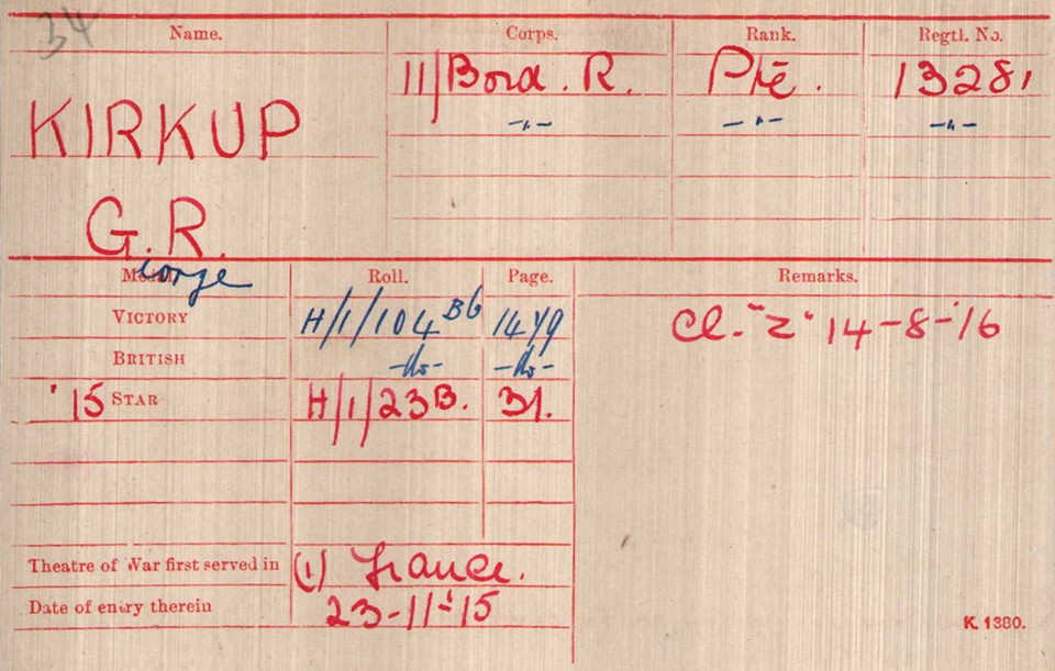 George Kirkup Medal Card