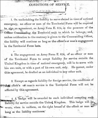 The conditions of service that Albert signed up to in 1912 when he joined the territorials.