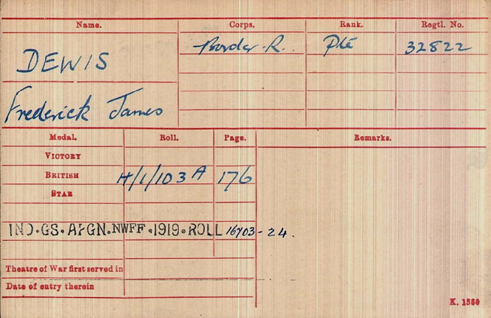 Private Fred Dewis Medal Index Card