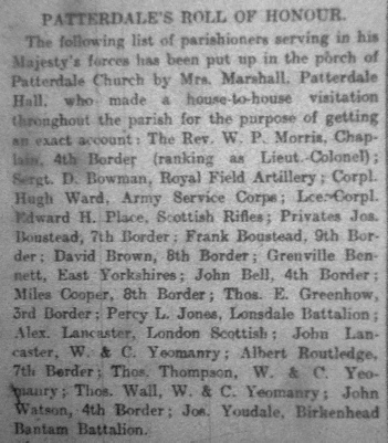 Patterdale Roll of Honour - Penrith Observer