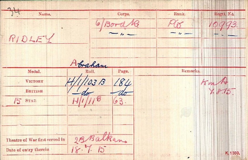 Private Abraham Ridley's Medal Index Card
