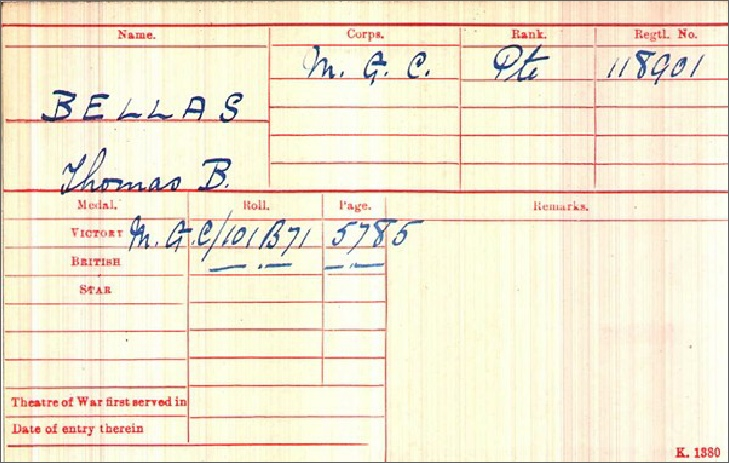 Thomas Burton Bellas Medal Card