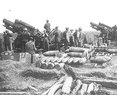 9.2 Howitzers in Action in World War One on the Somme of the sort supported by Glen's ASC Company