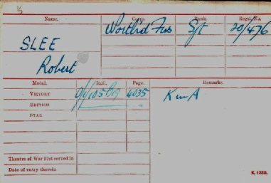 Robert Slee Medal Card