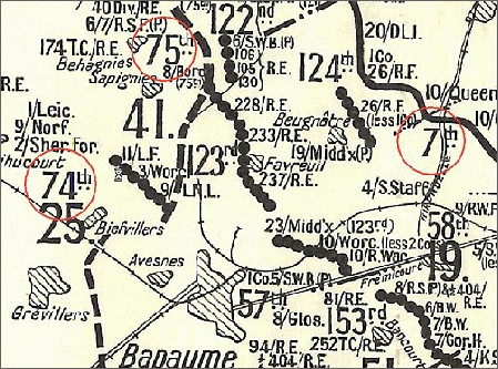 The 25th Division positions at the end of March 1918 - The 8thh Borders can be seen just below the 75th Number.