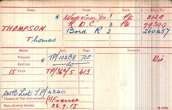 "Thomas' medal card showing his Silver War Badge record as well as is  ""Pip, Squeak and Wilfred"" medals."
