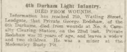 George Readshaw Newcastle Daily Journal on Monday Sept 27th 1915.