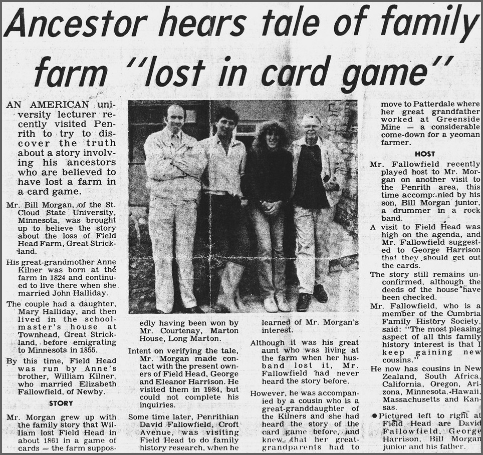 The story of the loss of Field Head as reported in the C&W Herald on the 8th July 1989
