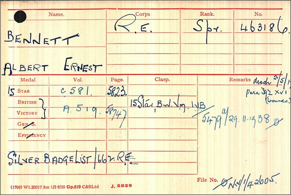 Albert Ernest Bennett Medal Index Card